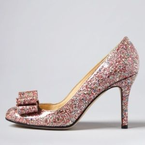 Kate Spade krysta bow glitter pink heels size 8B